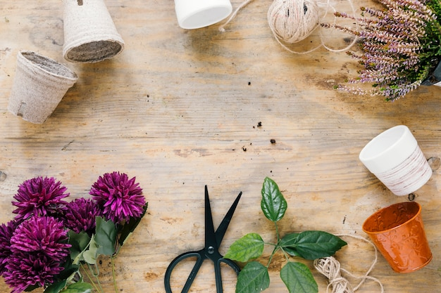 Crisântemo artificial; tesoura; pote de planta vazia na superfície de madeira