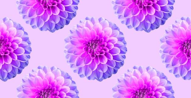 Crisântemo de néon no pano de fundo cor-de-rosa da cor. padrão sem emenda. ilustração artística de colagem.