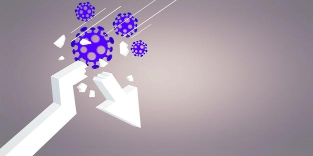 Crise covid e colapso dos mercados, conseqüências econômicas. ilustração 3d