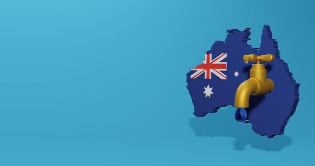Crise da água e estação seca na austrália para infográficos e conteúdo de mídia social em renderização 3d