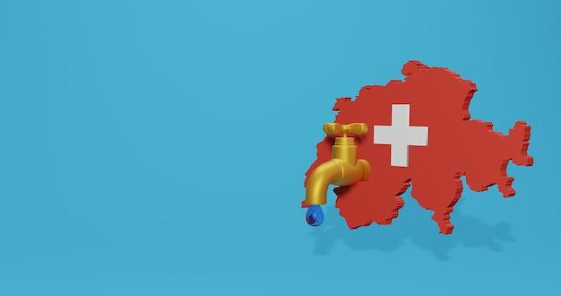 Crise da água e estação seca na suíça para infográficos em renderização 3d