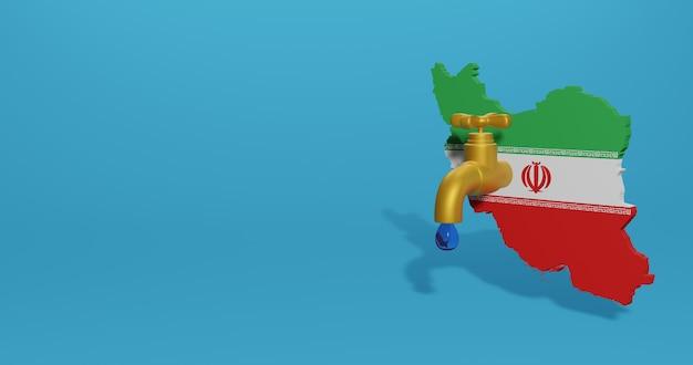 Crise da água e estação seca no irã para infográficos e conteúdo de mídia social em renderização 3d