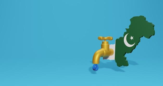 Crise da água e estação seca no paquistão para infográficos e conteúdo de mídia social em renderização 3d