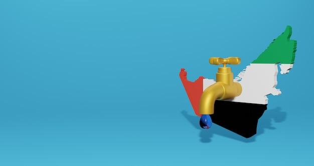 Crise da água e estação seca nos emirados árabes unidos para infográficos e conteúdo de mídia social em renderização 3d