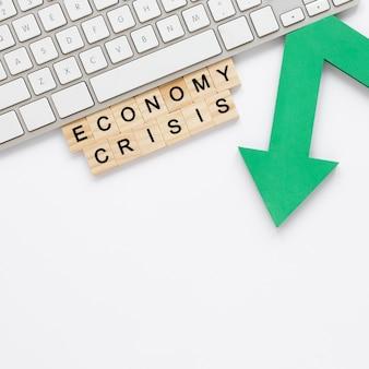 Crise econômica com flecha