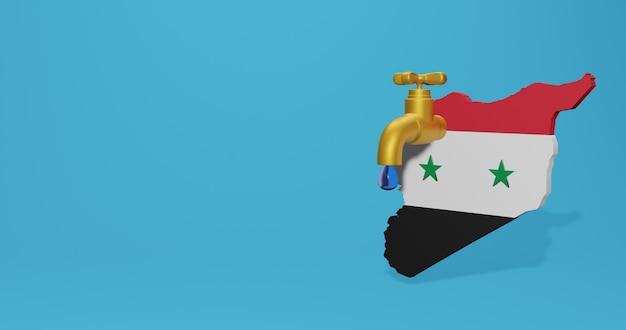 Crise hídrica e estação seca em syiria para infográficos em renderização 3d