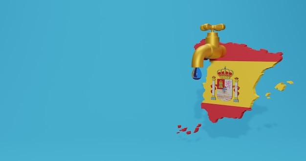 Crise hídrica e estação seca na espanha para infográficos em renderização 3d