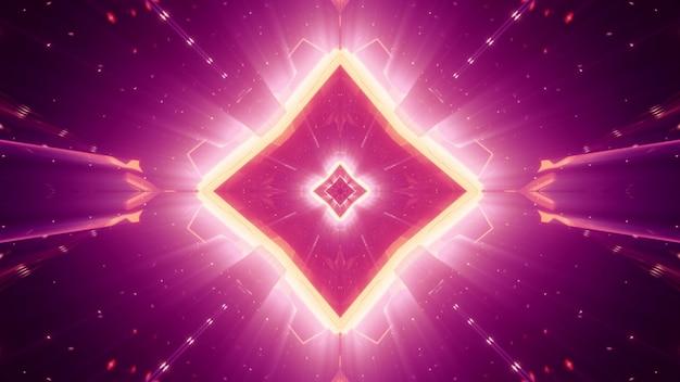 Cristal simétrico em forma de losango abstrato cintilando com luz de néon vívida