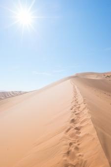 Cristas cenicas de dunas de areia com pegadas