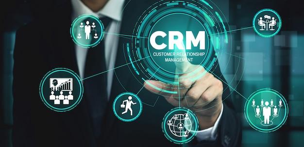 Crm customer relationship management para conceito de sistema de marketing de vendas de negócios