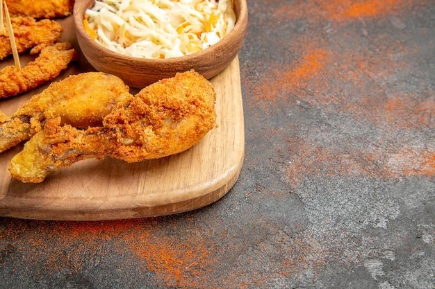 Crocante de frango frito coxinhas de frango vista do menu