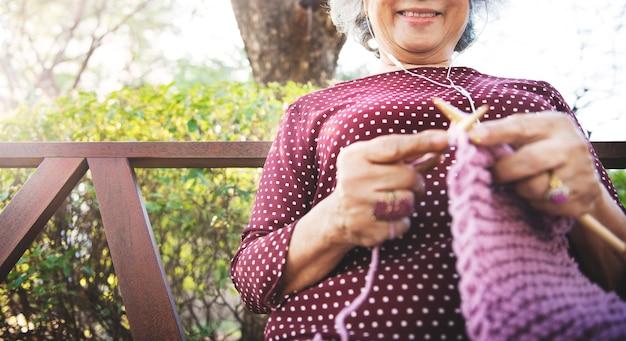 Crochet senior adult hobby handicraft concept