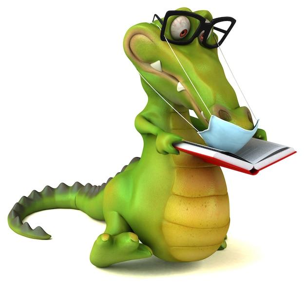 Crocodilo de desenho animado 3d divertido com uma máscara