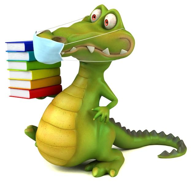 Crocodilo de desenho animado divertido com uma máscara