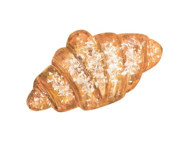 Croissant polvilhado com açúcar de confeiteiro. mão-extraídas ilustração em aquarela. isolado na parede branca.