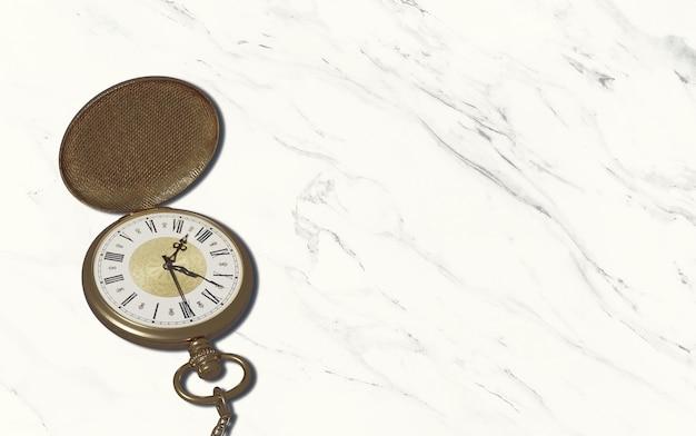 Cronômetro de relógio de bolso estilo vintage em piso de mármore com área de cópia