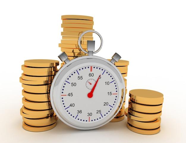 Cronômetro e moedas 3d