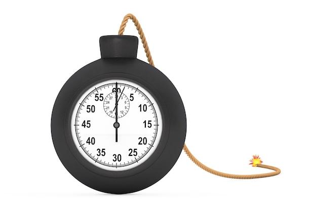 Cronômetro em black bomb com wick em um fundo branco. renderização 3d