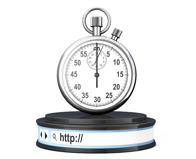 Cronômetro sobre a barra de endereços do navegador como um pedestal redondo da plataforma em um fundo branco. renderização 3d