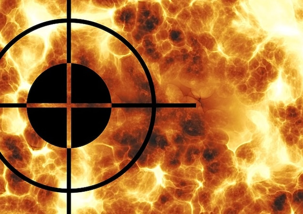 Crosshair centro viseira focal ponto médio