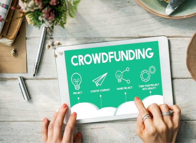Crowdfunding, plano de projeto, estratégia, negócios, conceito gráfico