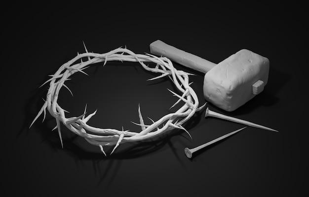 Crucificação de jesus cristo - cruz com martelo de unhas e coroa de espinhos 3d rendering dark background