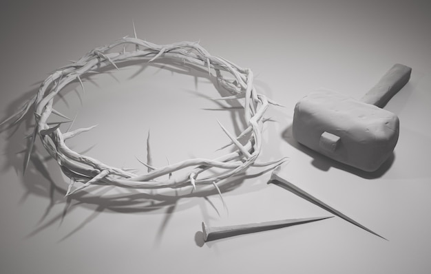 Crucificação de jesus cristo - cruz com martelo unhas e coroa de espinhos renderização 3d fundo branco