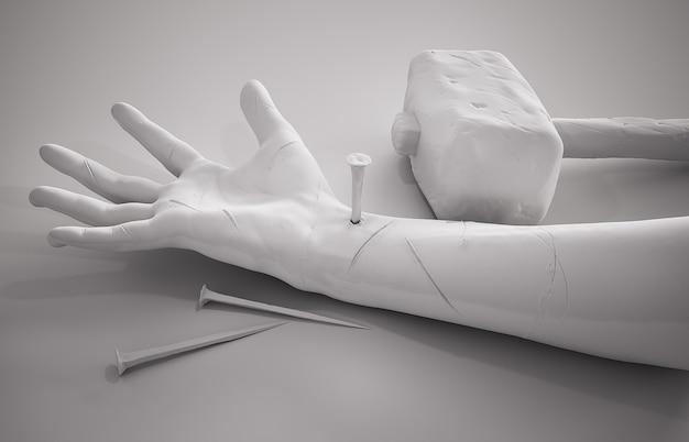 Crucificação de jesus cristo - mão martelo unhas e coroa de espinhos renderização 3d fundo branco