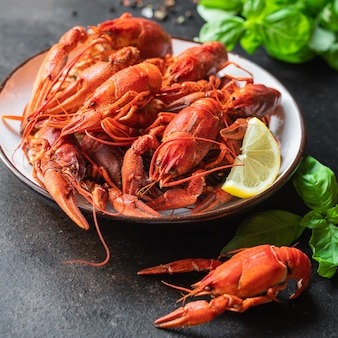 Crustáceos crustáceos crustáceos crustáceos crustáceos frescos cozidos refeição lanche na mesa cópia espaço comida