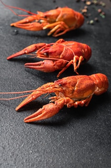 Crustáceos crustáceos crustáceos fervidos de crustáceos vermelhos frescos na mesa cópia espaço fundo de comida