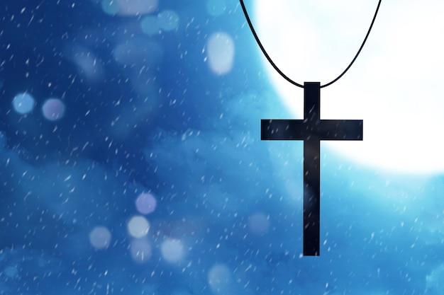 Cruz cristã com a cena noturna de fundo