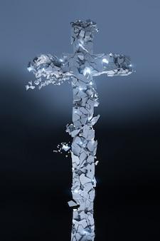 Cruz de pedra cristã que se quebra em muitos pedaços, brilha e fundo escuro