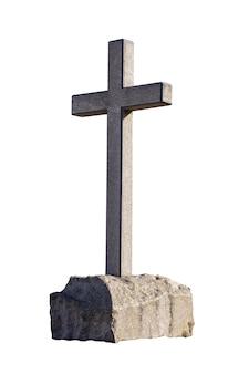 Cruz de pedra na pedra é isolada em um fundo branco. religião cristã. foto de alta qualidade