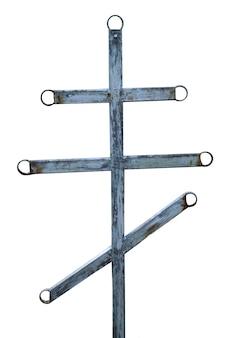 Cruz ortodoxa cristã de metal velha isolada no fundo branco. foto de alta qualidade