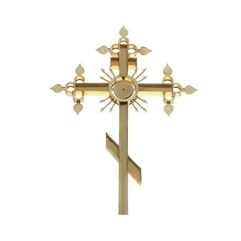 Cruz ortodoxa dourada isolada no fundo branco