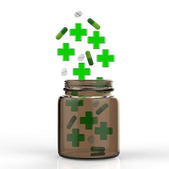 Cruz verde e comprimidos caindo na garrafa