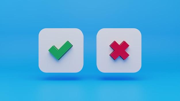 Cruz vermelha 3d e ícone de marca de seleção verde no fundo azul