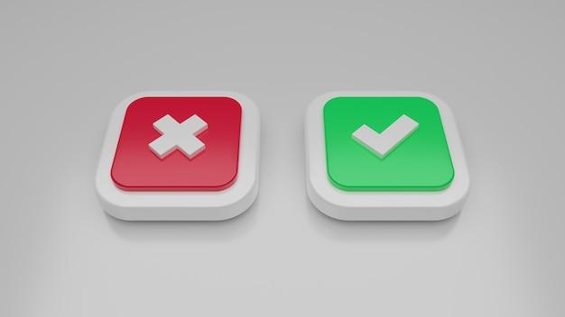 Cruz vermelha 3d e ícone de marca de seleção verde