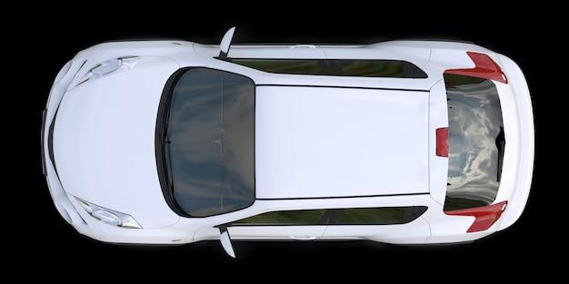 Cruzamento subcompacto branco suv em fundo preto. renderização em 3d.