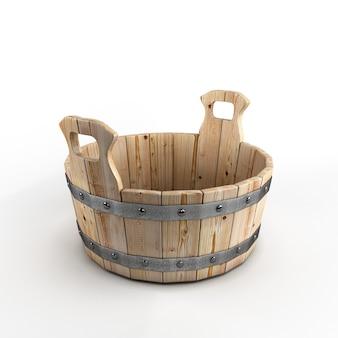 Cuba de madeira para lavagem isolada em fundo branco