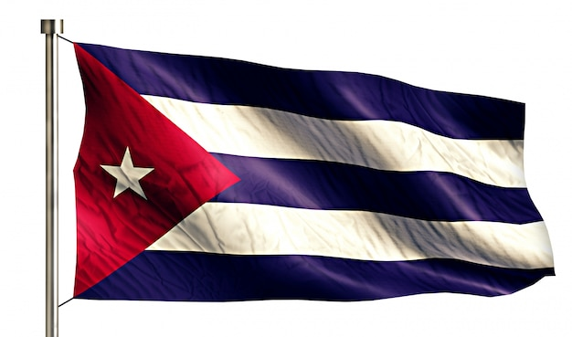 Cuba national flag isolated 3d fundo branco