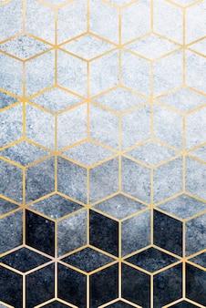 Cúbico azul abstrato com padrão