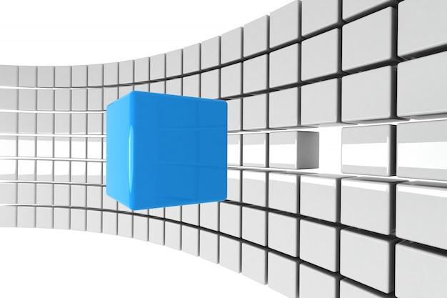 Cubo azul brilhante destacado fora do conceito de multidão