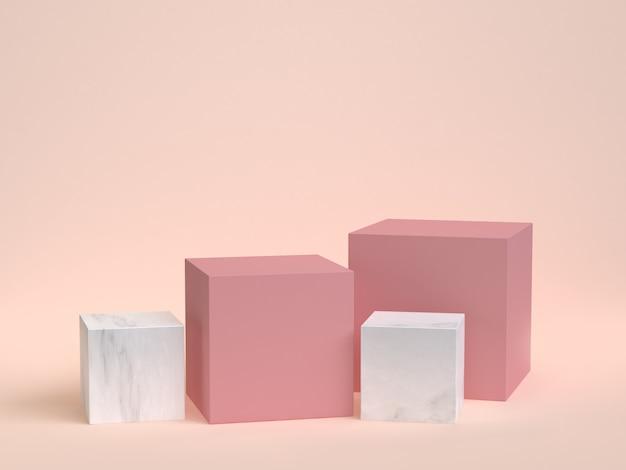 Cubo-caixa rosa mármore conjunto mínimo creme 3d renderização