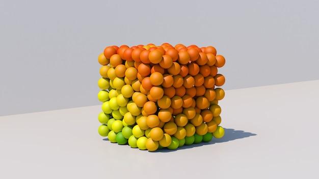 Cubo com bolas coloridas. ilustração abstrata, renderização 3d.