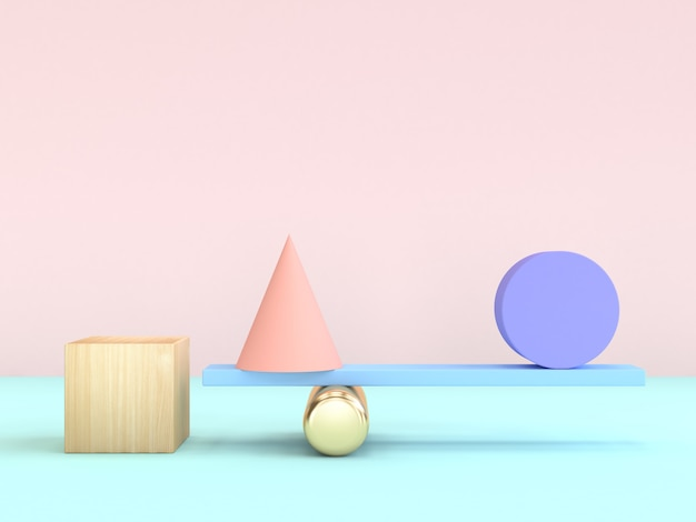 Cubo cone círculo gravidade conceito mínimo geométrico forma colorido 3d renderização
