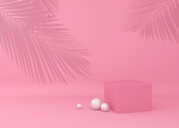 Cubo de exibição para apresentação do produto, sombra de árvore tropical