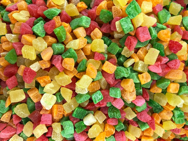 Cubo de frutas cristalizadas misturar sobremesa como textura de fundo