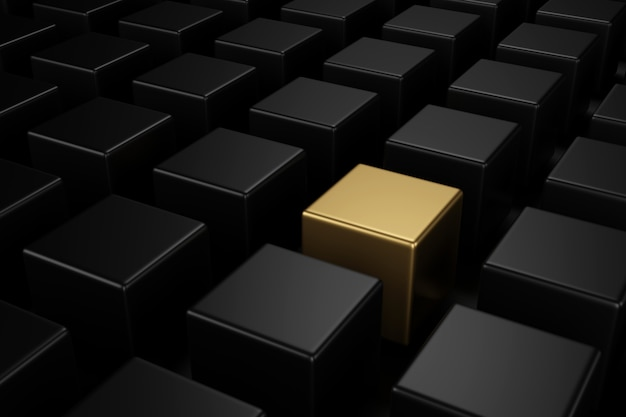 Cubo de ouro no meio de cubos pretos com os diferentes conceitos. renderização em 3d.