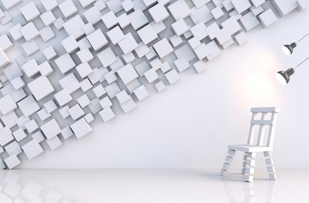 Cubo geométrico branco formas parede na sala branca